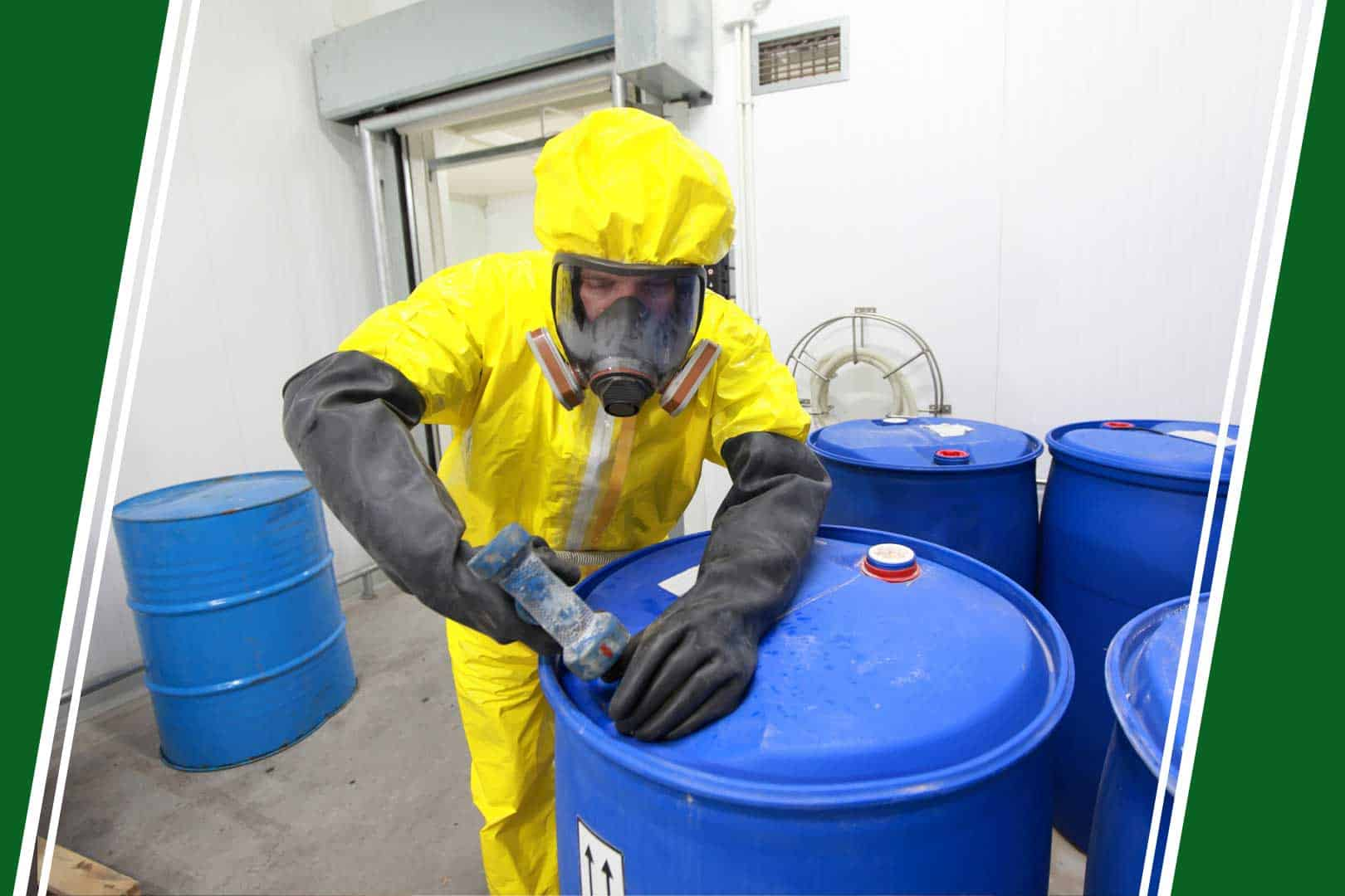 a man wearing a HAZMAT suit sealing a plastic barrel
